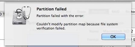 hard disk problem partition failed error message
